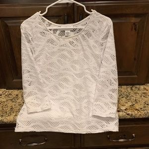 White lace shirt with white cami by Peck & Peck -S